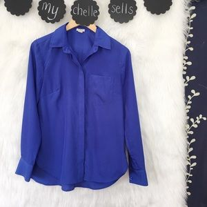 J. Crew Factory Tops - J. Crew Factory Blue Classic Dress Blouse